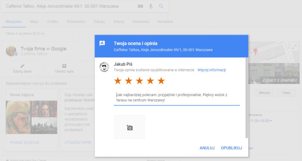 Wystawianie opinii w Google Mapos pomaga w skutecznym pozyskiwaniuklientów z wyszukiwarki. Pozycjonowanie w Google Maps jest łatwe