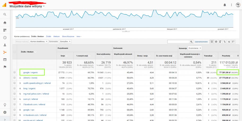 Zrodla ruchu na stronie Google Analytics wpływ wyszukiwarki Google na przychody ze sprzedaży