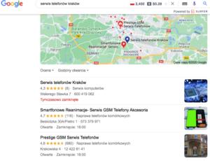 """Wyniki z Google dla """"serwis telefonów kraków"""""""